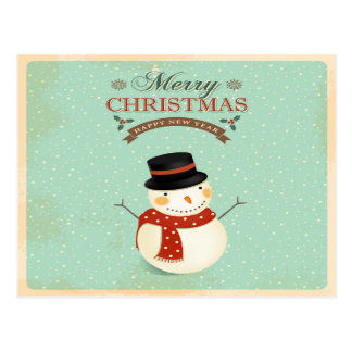 Retro Christmas Snowman Postcard