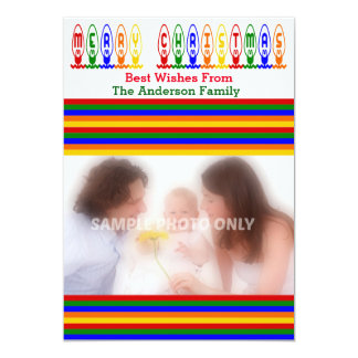 "Retro Christmas Tree Lights Photo Card 5"" X 7"" Invitation Card"