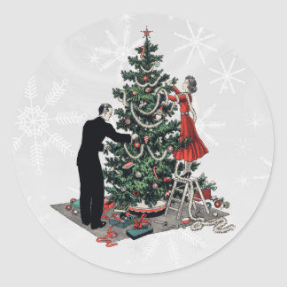 Retro Christmas Tree Round Sticker