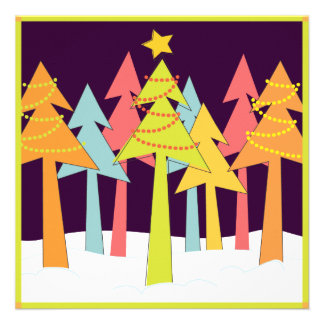 Retro Christmas Trees Holiday Party Custom Announcements