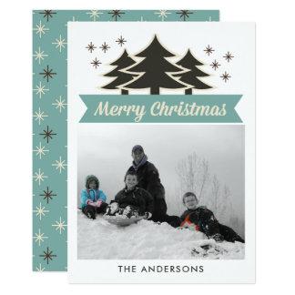 Retro Christmas Trees I Photo Christmas Greeting Card