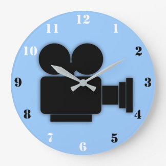 RETRO CINE CAMERA ICON WITH BLACK & WHITE NUMBERS LARGE CLOCK