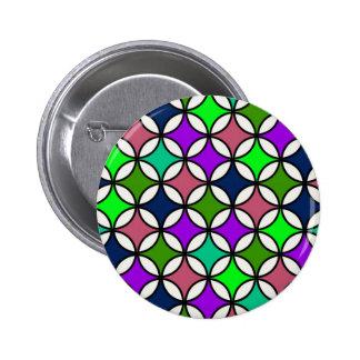 Retro Circle Pattern in Vibrant Colors Button