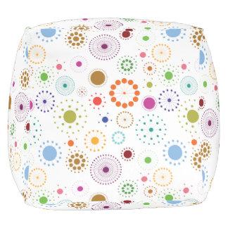 Retro Circle Pattern, Pouf, Footrest, Cube Cube Pouffe