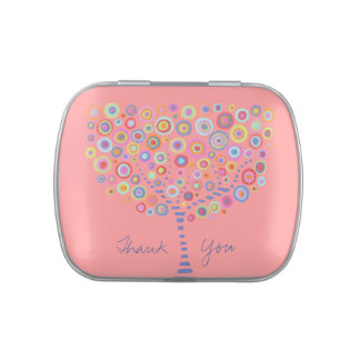 Retro Circle Tree Pink Thank You Jelly beans Gift Jelly Belly Candy Tins