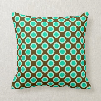 Retro circled dots, brown and turquoise cushion
