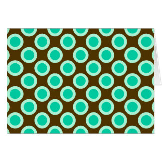 Retro circled dots, brown and turquoise note card