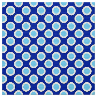 Retro circled dots, cobalt blue and white fabric