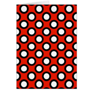 Retro circled dots, red, black and white greeting card