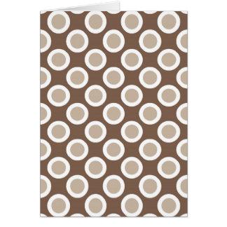 Retro circled dots, shades of taupe tan card