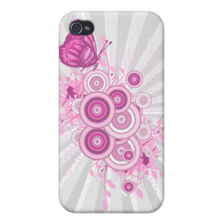 retro circles and butterfly design iPhone 4/4S cases