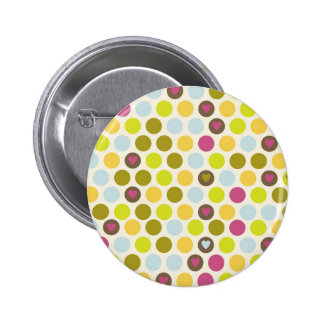 Retro Circles and Hearts Pattern Green Gold Blue Pinback Button