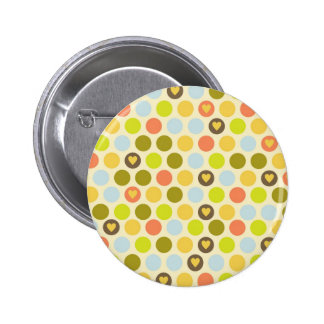 Retro Circles and Hearts Pattern Green Gold Blue Buttons