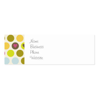 Retro Circles and Hearts Pattern Green Gold Blue Business Card