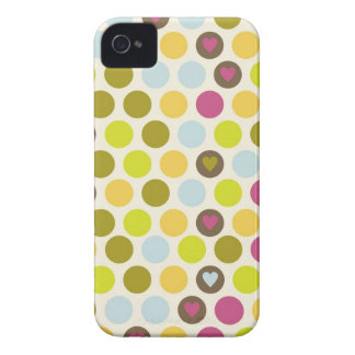 Retro Circles and Hearts Pattern Green Gold Blue iPhone 4 Case-Mate Cases