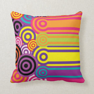 Retro Circles and Stripes 60's Style Pattern Cushion