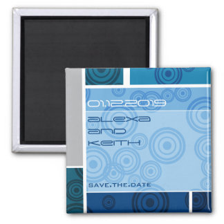 Retro Circles Blocks Blue Save The Date Magnet