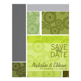 Retro Circles Blocks Green Save The Date Invite