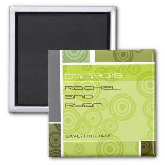 Retro Circles Blocks Green Save The Date Magnet