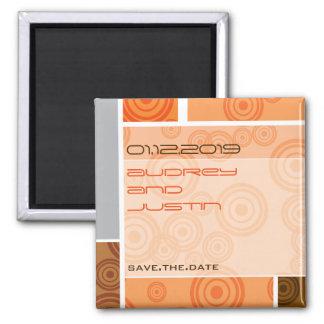 Retro Circles Blocks Orange Save The Date Magnet