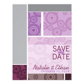 Retro Circles Blocks Purple Save The Date Invite