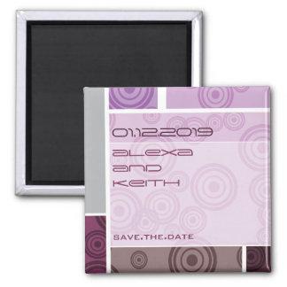 Retro Circles Blocks Purple Save The Date Magnet