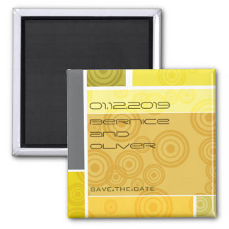 Retro Circles Blocks Yellow Save The Date Magnet