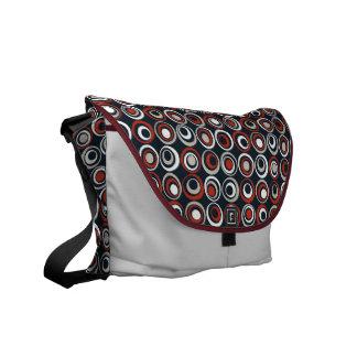 Retro Circles Dark Courier Bag