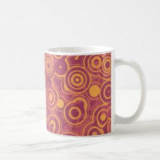 Retro Circles Grunge Pattern Coffee Mugs