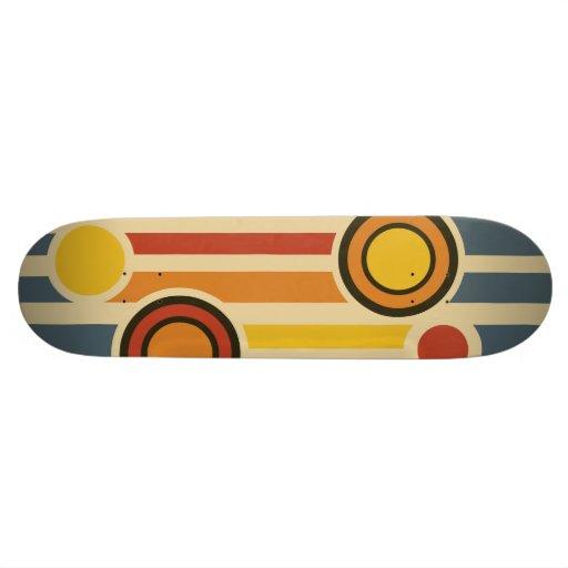 Retro Circles & Lines Custom Skate Board