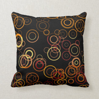 Retro Circles on Black Art Pattern Throw Pillow