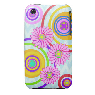 Retro circles & pink flowers  iPhone 3G/3GS Case iPhone 3 Covers