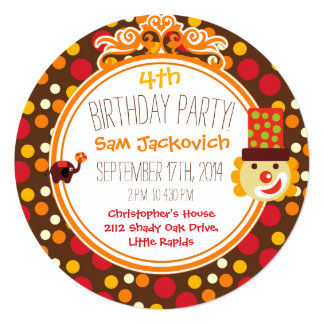 Retro Circus Birthday Circle Invite