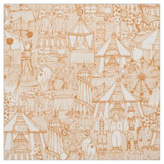 retro circus orange ivory fabric