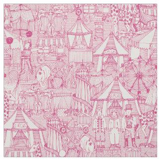 retro circus pink ivory fabric