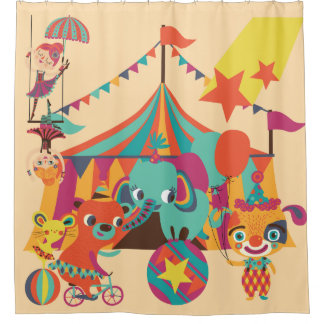 Retro Circus With Elephant, Bear, Acrobats Shower Curtain