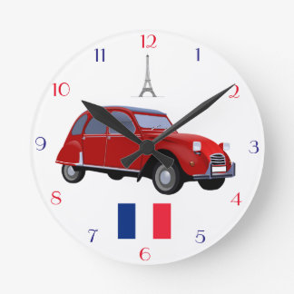 Retro Citroen 2CV Wall Clock. Round Clock