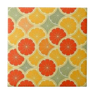 """Retro Citrus Fruit Cheerful Small (4.25"""" x 4.25"""") Ceramic Tile"""