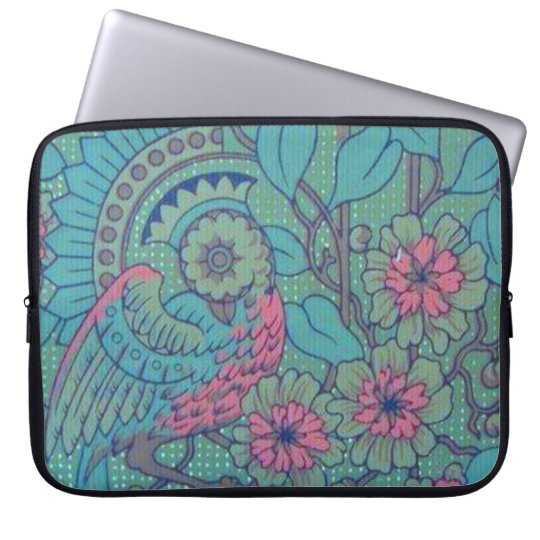 Retro Classy Sassy Sissy Vintage Peacock Teal Pink Laptop Sleeve