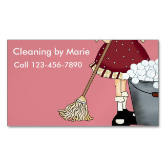 Retro Cleaning Business Magnets Magnetic Business Cards