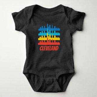 Retro Cleveland OH Skyline Pop Art Baby Bodysuit