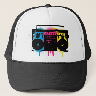 Retro CMYK Boombox Grafitti Spray Paint Design Trucker Hat
