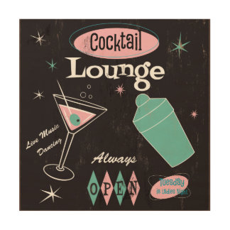 Retro Cocktail Lounge art Wood Prints