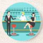 Retro Cocktail Lounge Sandstone Drink Coaster