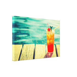 Retro cocktail sunset pool bar canvas print