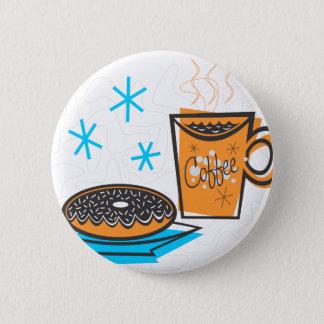 Retro Coffee and Doughnut 6 Cm Round Badge
