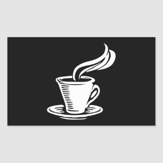 Retro Coffee Cup & Saucer Rectangular Sticker