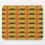 Retro Coffee Cups on orange mousepad