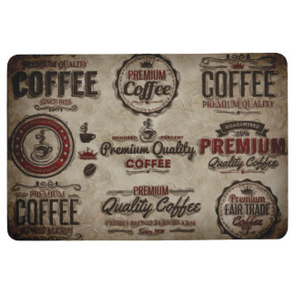 Retro Coffee Labels for Coffee Lovers Floor Mat