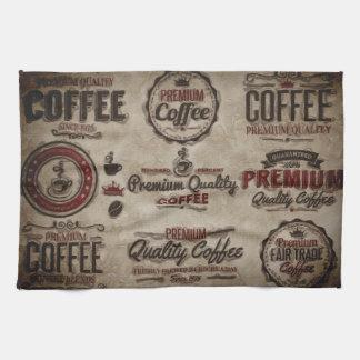 Retro Coffee Labels for Coffee Lovers Tea Towel
